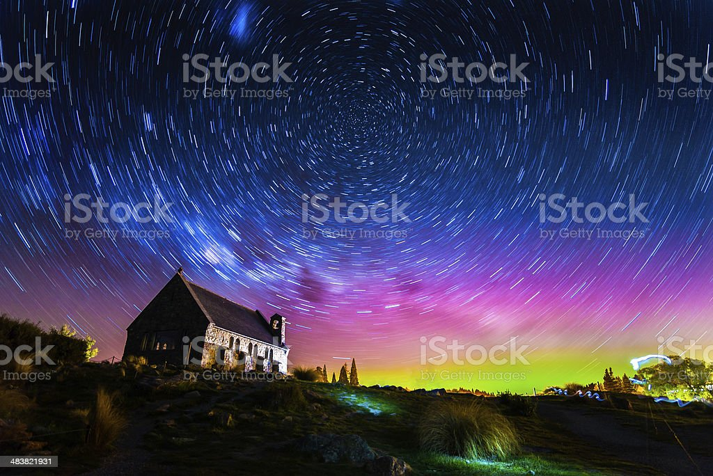 Star trails and Aurora at Church of the Good Shepherd stock photo