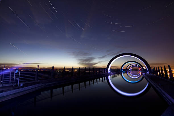 Star Trails at the Falkirk Wheel stock photo