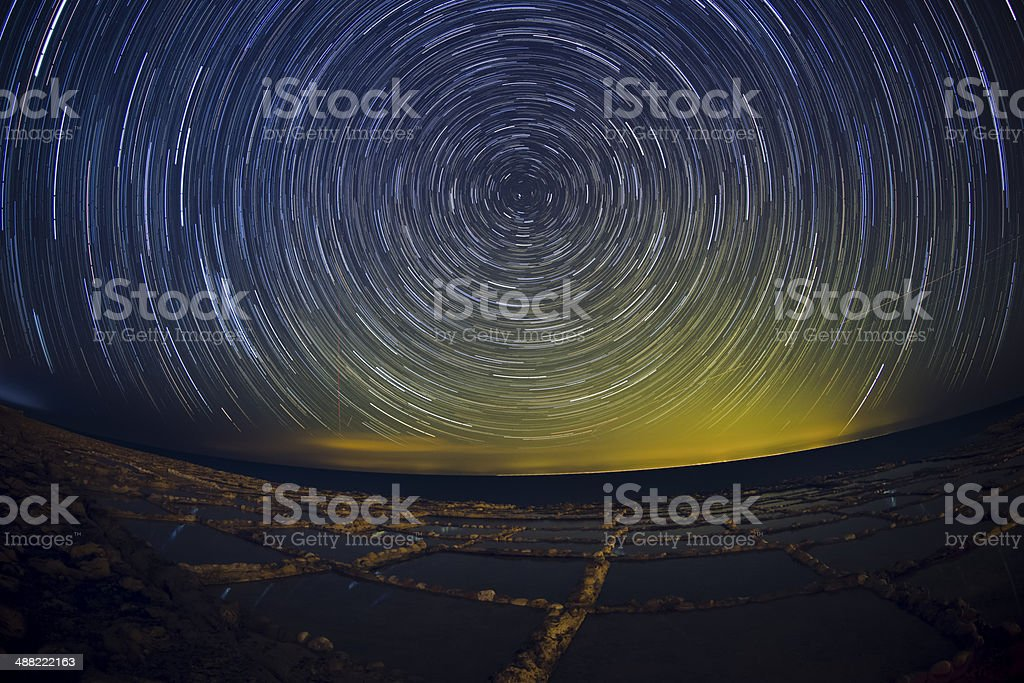 Star Trails - Gozo Salt Pans stock photo