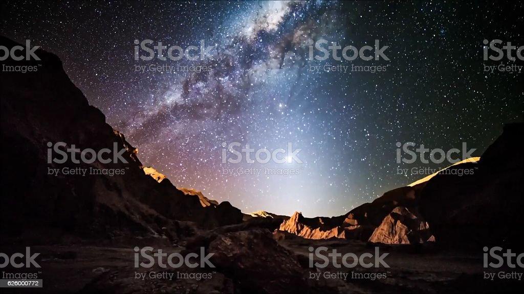 Star trails in Atacama desert Chile stock photo