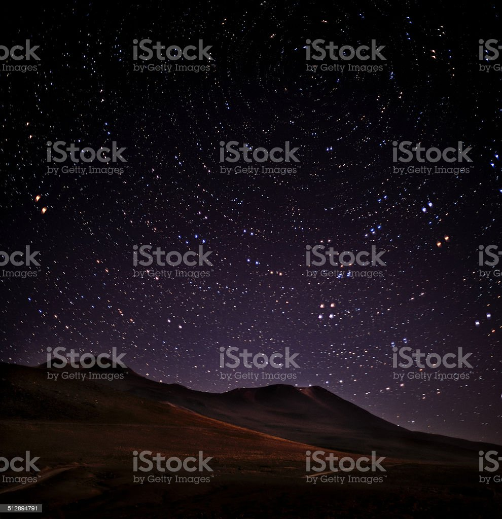 Star trails in Atacama Desert stock photo