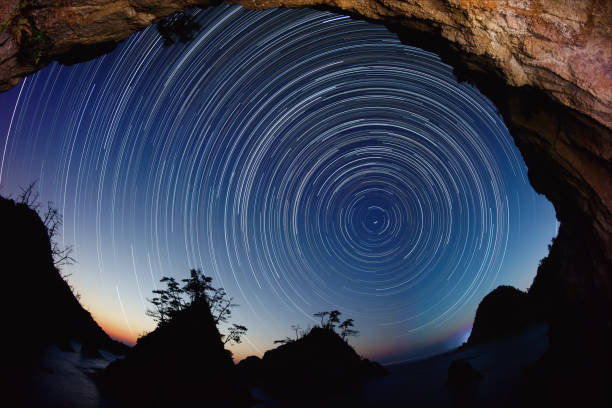 Star trails of Uradome coast from dusk to dawn Star trails of Uradome coast from dusk to dawn. This coast is a famous sightseeing spot in Tottori, Japan. north star stock pictures, royalty-free photos & images