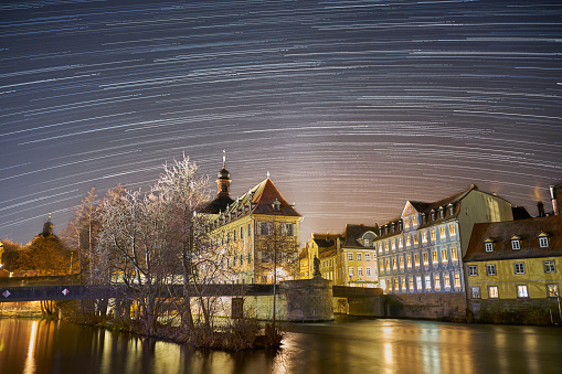 Star Trails over Bamberg Old Town Hall at night