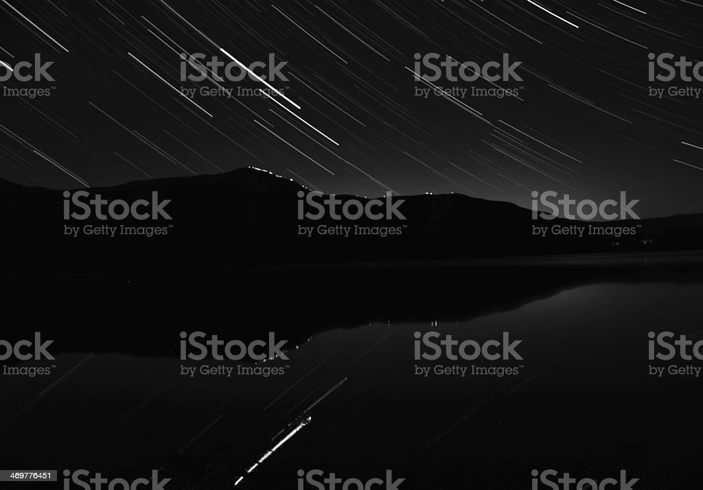 Star trails over lakeland royalty-free stock photo