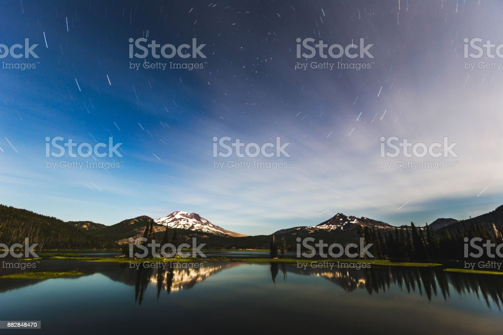 Star Trails Over Sparks Lake stock photo