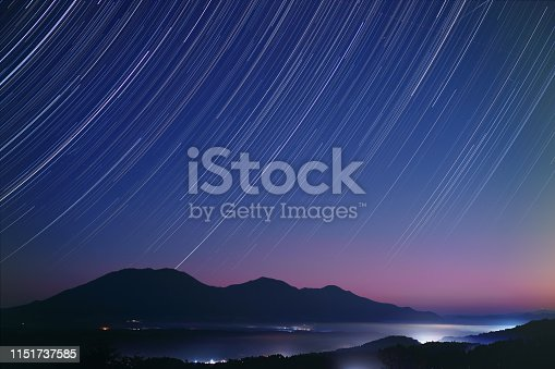 Star trails over the 3 peaks of Mt. Hiruzen in autumn. The mountain is a famous sightseeing spot in Okayama, Japan.
