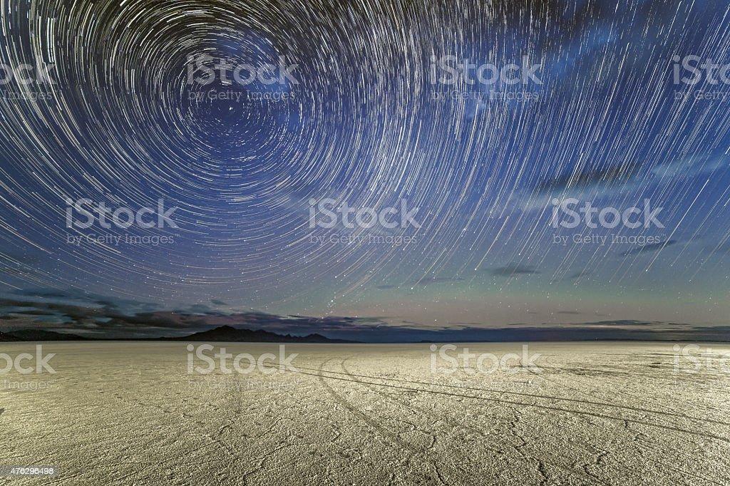 Star Trails over the Bonneville Salt Flats stock photo