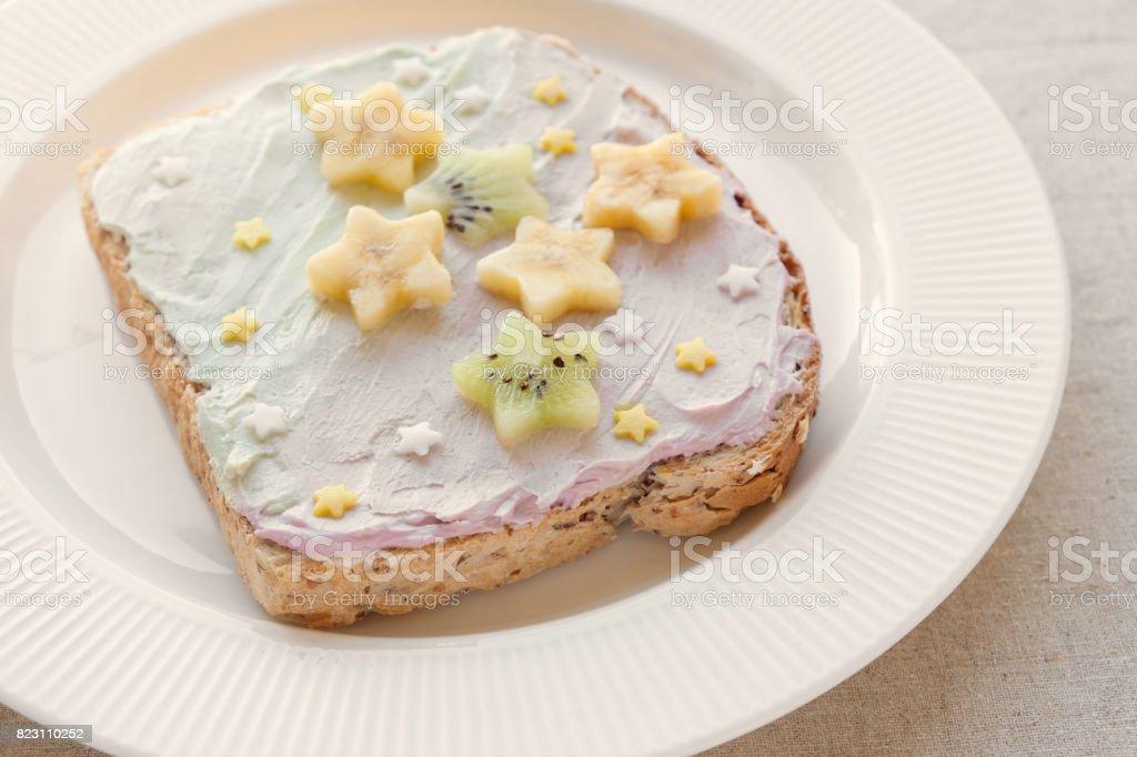 star unicorn creamcheese toast breakfast, fun food art for kids