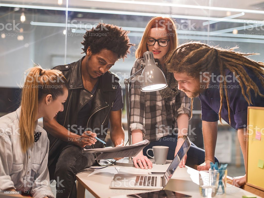 Star up team working on a new ideas in office. royalty-free stock photo