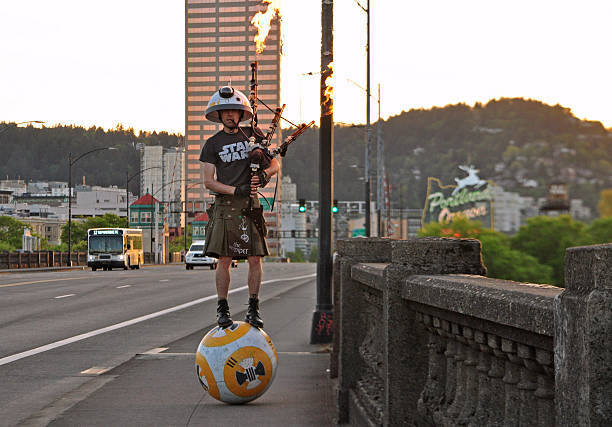 Star Wars Fan Playing Flaming Bagpipes in Portland stock photo