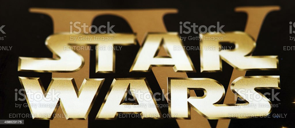 Star wars IV logo on DVD cover close-up stock photo
