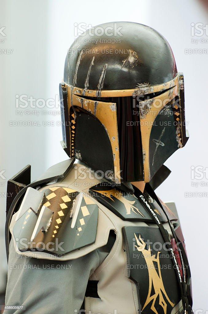 Star Wars Mandalorian bounty hunter stock photo