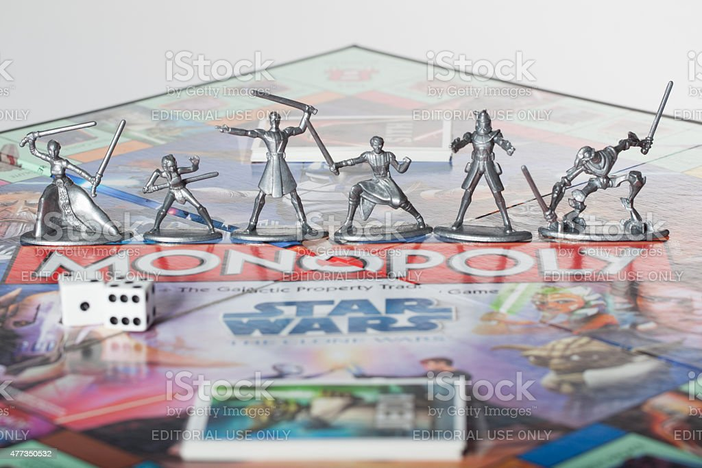Star Wars Monopoly figures on board game stock photo
