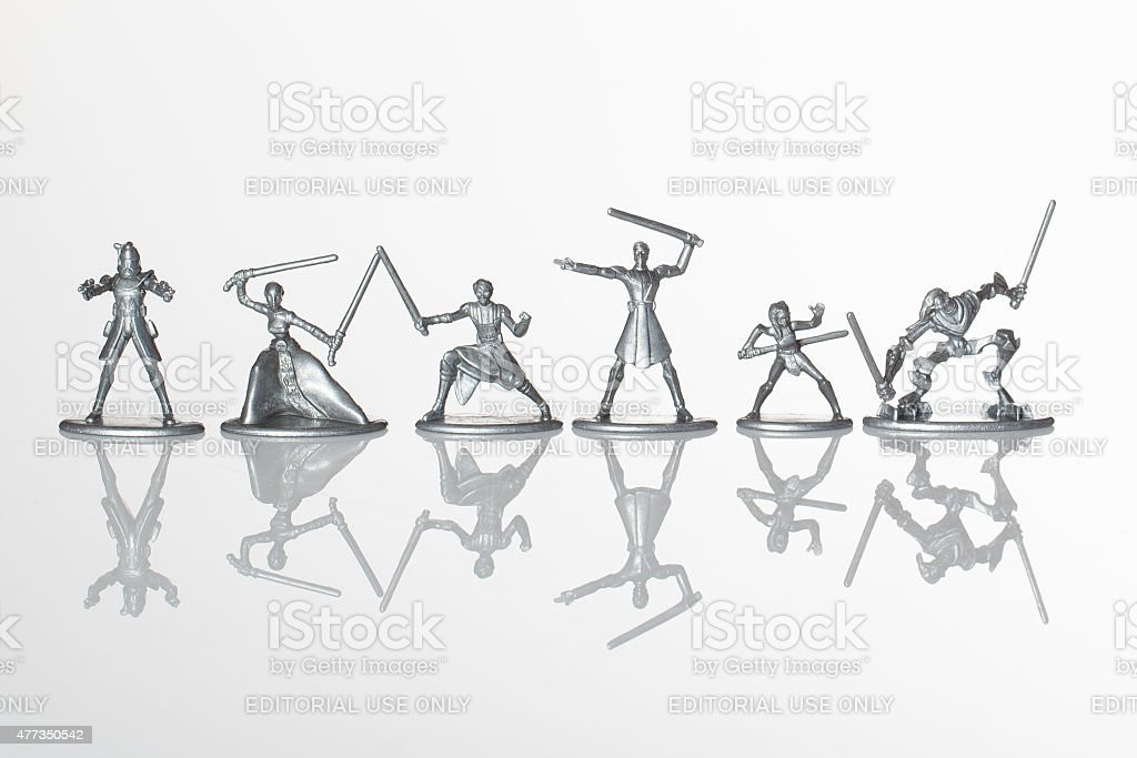 Star Wars Monopoly figures on white background stock photo