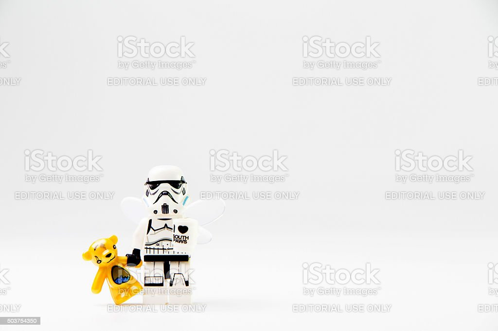 Star Wars movie : Stomtrooper holding a doll stock photo