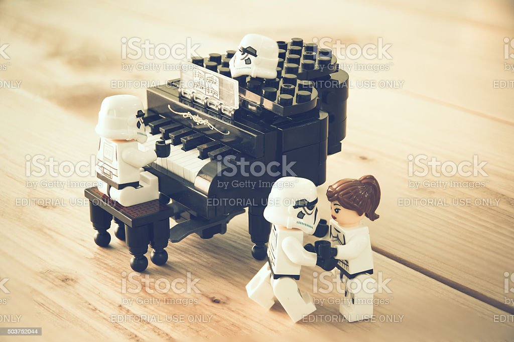 Star Wars movie : Stomtrooper Playing the piano and dancing stock photo