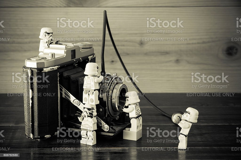 Star Wars movie : Stomtrooper Repairing antique camera stock photo