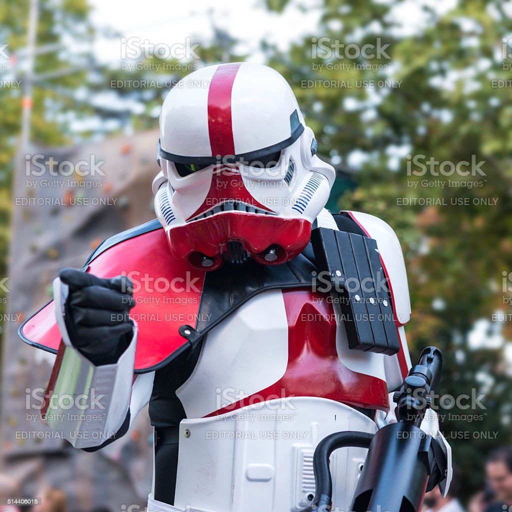 Star Wars Stormtrooper pinting a finger to the camera, Madrid stock photo