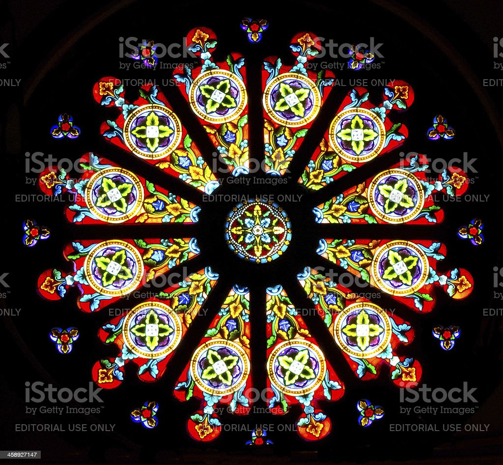 Star window in Santa Fe's Cathedral Basilica stock photo