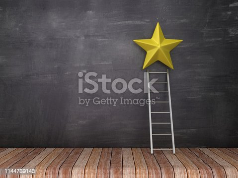 Star with Stair on Wood Floor - Chalkboard Background - 3D Rendering