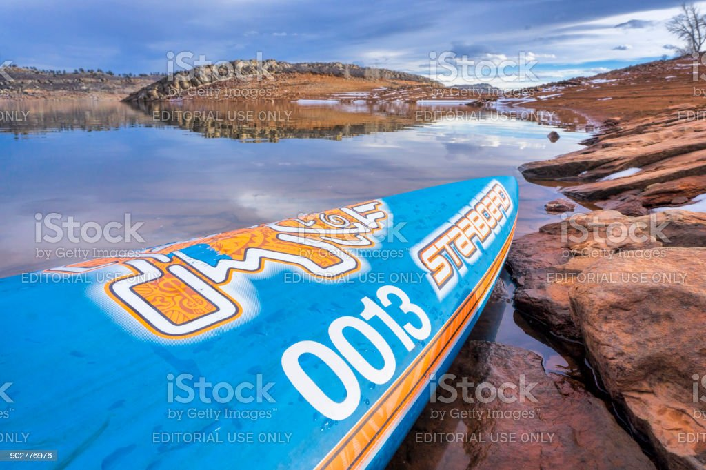 Starboard racing stand up paddleboard stock photo