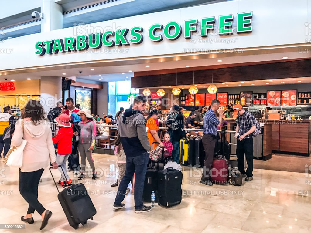 Starbucks coffee at Cancun International Airport, Mexico stock photo