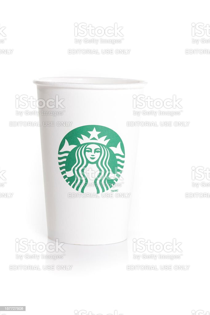 Starbucks coffee cup isolated on white royalty-free stock photo