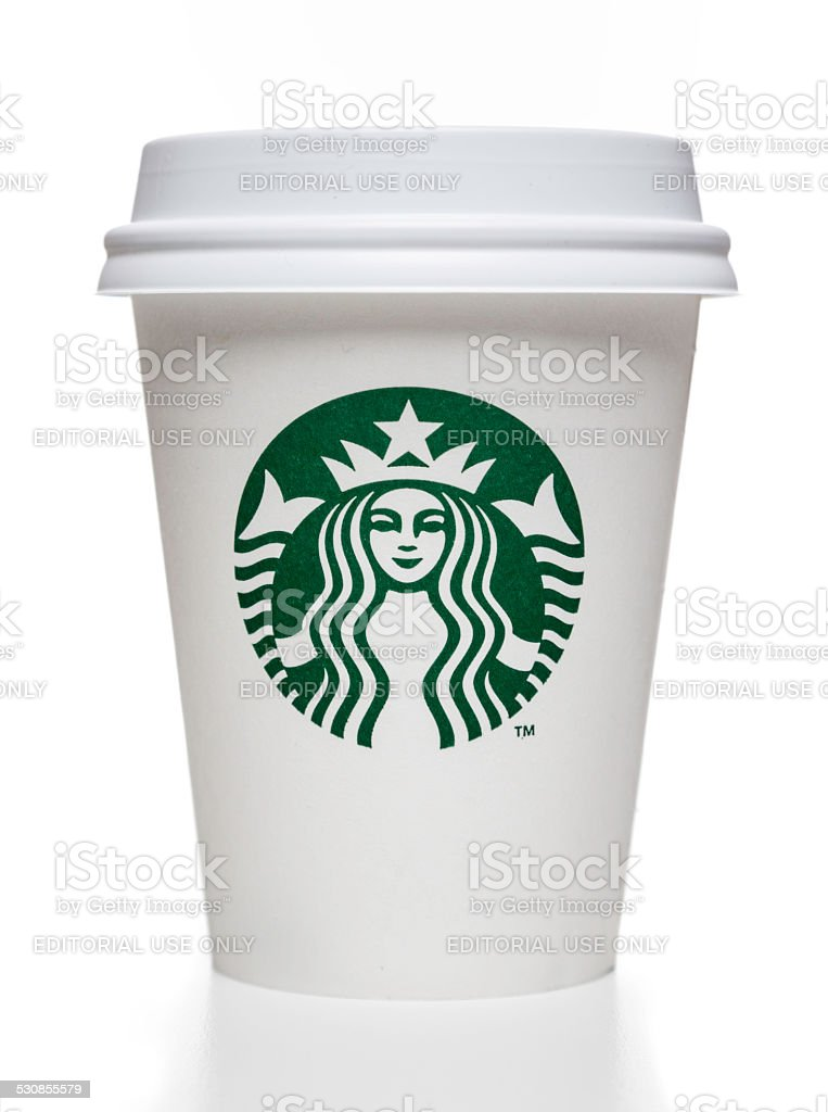 Starbucks coffee cup with cap stock photo