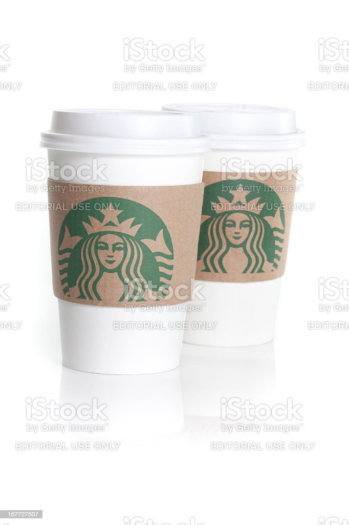 Starbucks coffee cups isolated on white royalty-free stock photo