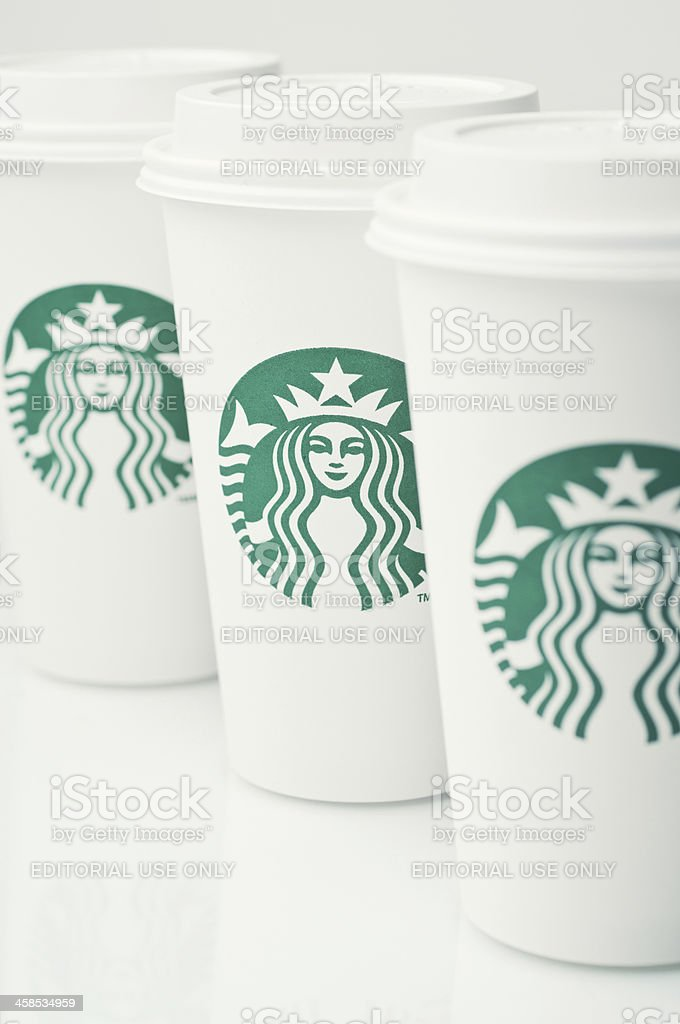 Starbucks Coffee Cups royalty-free stock photo