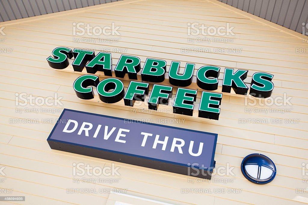Starbucks Coffee Drive Thru Signage royalty-free stock photo