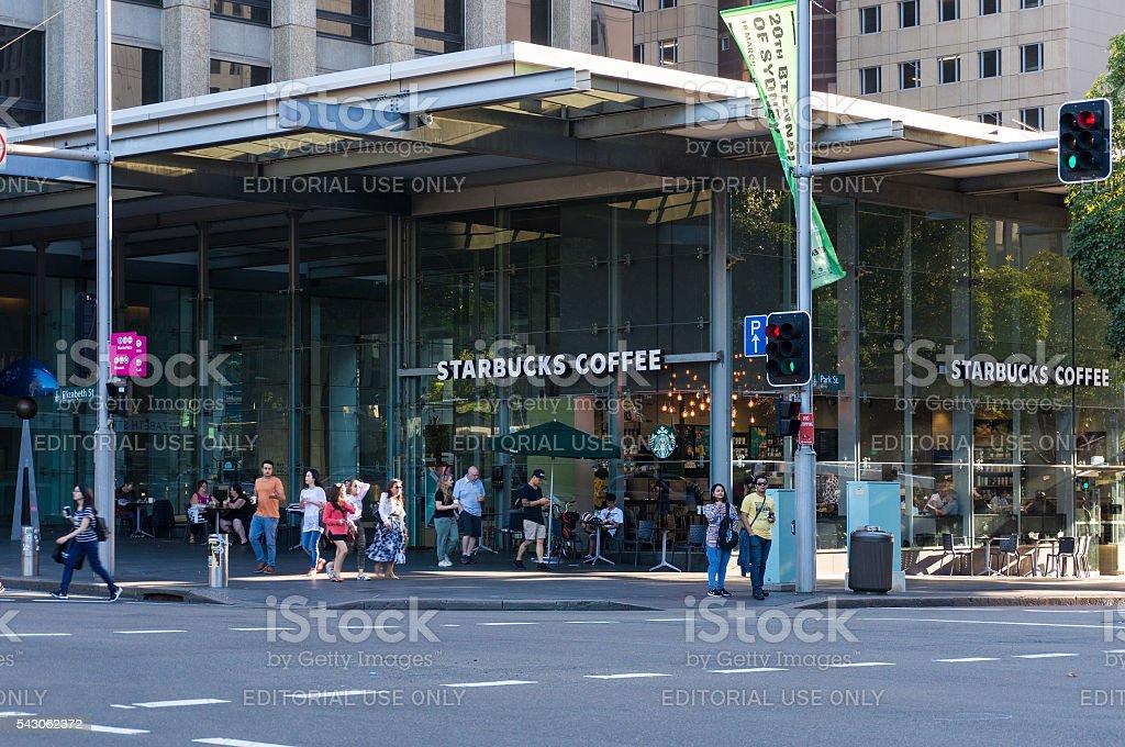 Starbucks coffee shop, corner Park and Elizabeth street, Sydney, stock photo