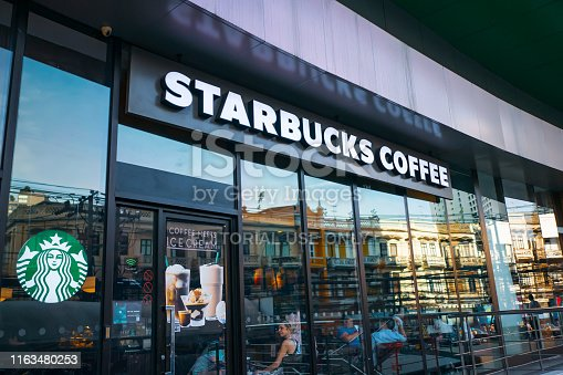 Bangkok, Thailand - July 19, 2019 : Starbucks coffee logo in front of the shop in Bangkok.