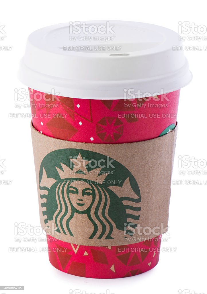 Starbucks Cup with New Year Design royalty-free stock photo