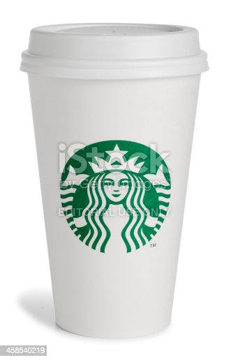San Diego, California, United States - March 17th 2011:This is a photo taken in the studio on a white background of a white Starbucks coffee cup. Starbucks just released a new logo on March 8th 2011 to commemorate their 40th anniversary.