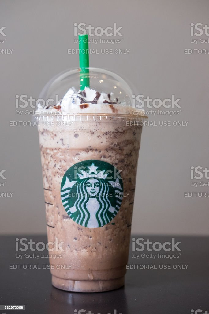 Starbucks Frappuccinos are coffee drinks blended with chocolate and syrup stock photo