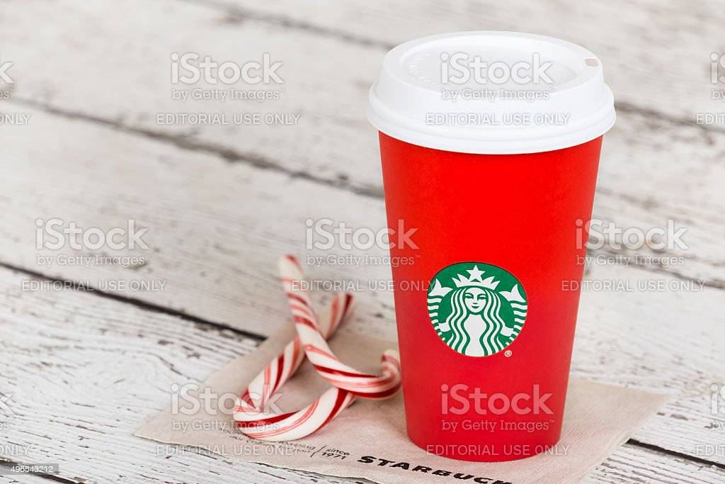 Starbucks holiday beverage in red cup stock photo