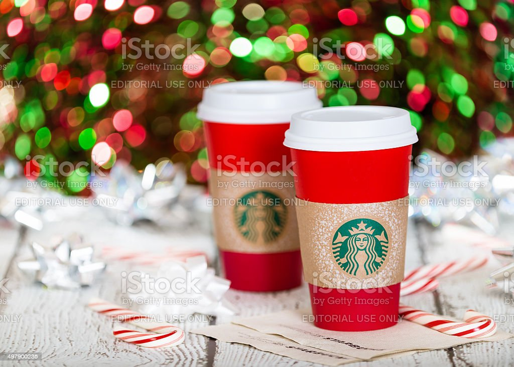 Starbucks holiday beverage stock photo
