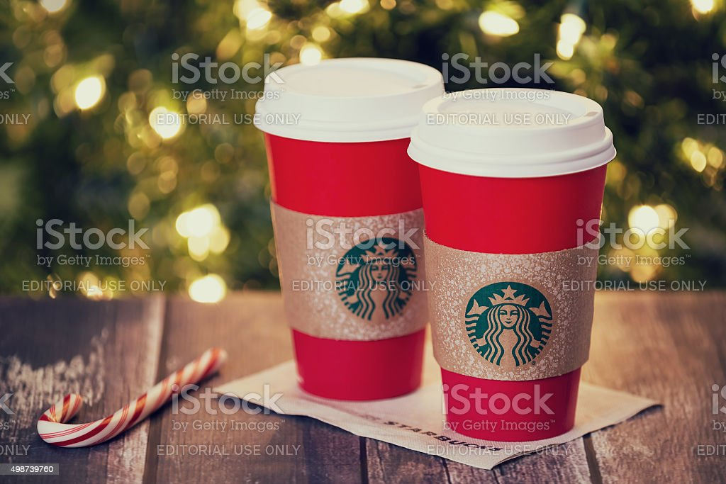 Starbucks holiday beverage stock photo