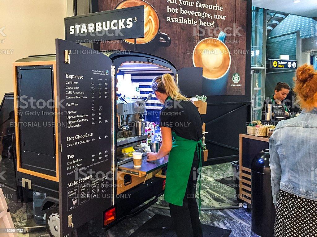 Starbucks mobile kiosk at Oslo Airport, Norway stock photo