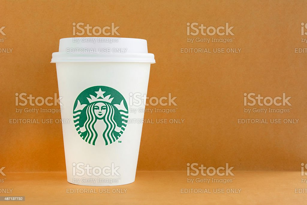 Starbucks paper coffee cup stock photo