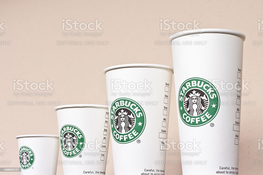 Starbucks Paper Coffee Cups royalty-free stock photo