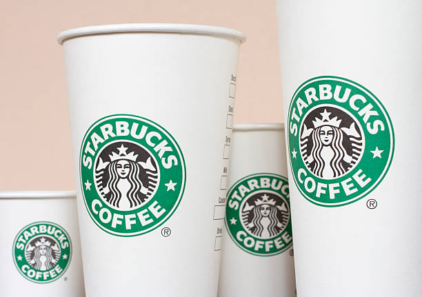 Starbucks Paper Coffee Cups stock photo
