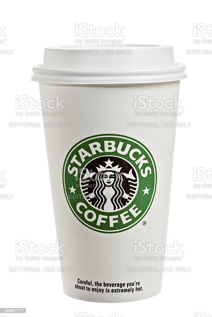 Starbucks Paper Cup With Lid stock photo