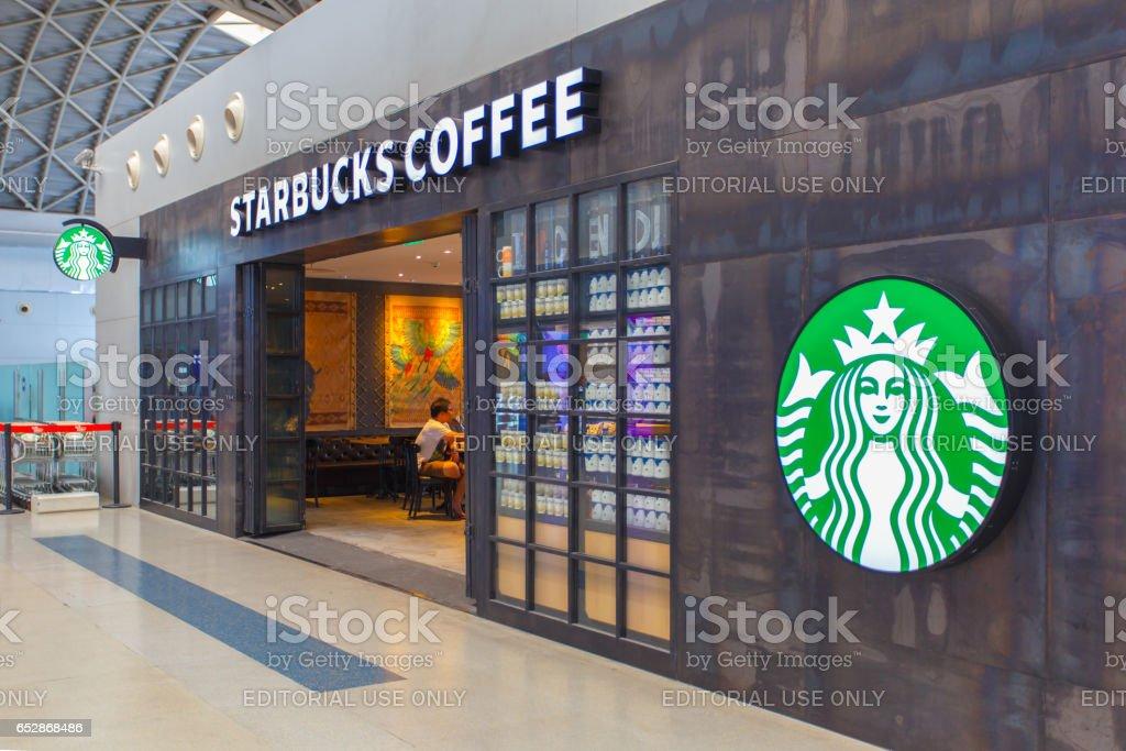CHENGDU, CHINA - MAY 8, 2016 : Starbucks sign in Starbucks restaurant at Chengdu Shuangliu International Airport stock photo