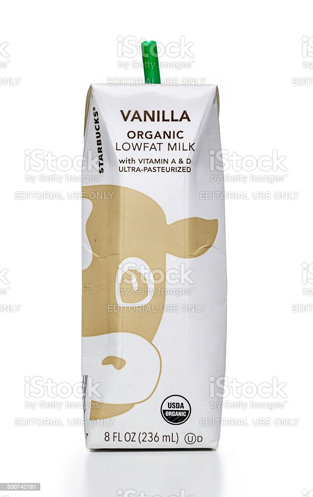 Starbucks Vanilla Organic Lowfat Milk Carton Stock Photo & More ...