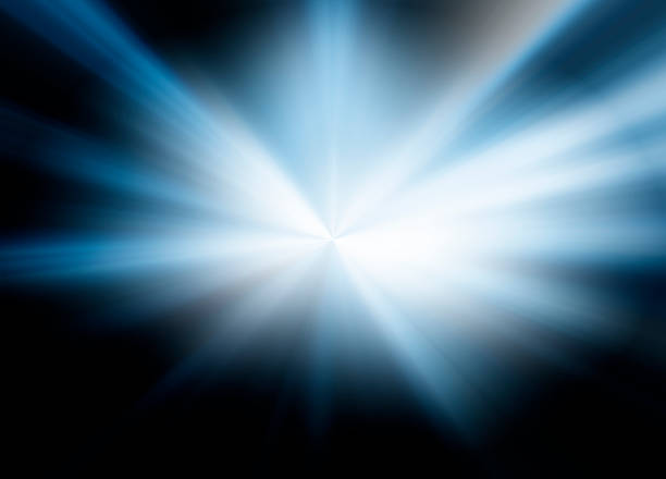 starburst blue light beam abstract background - flash stock photos and pictures