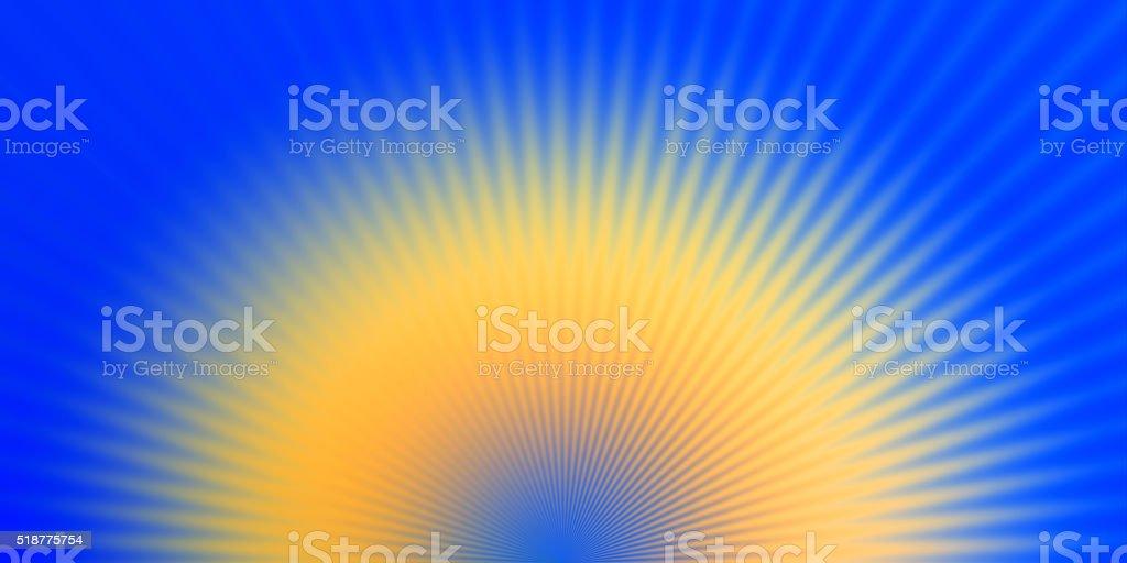 Starburst Blue Yellow Light Beam Abstract Background stock photo