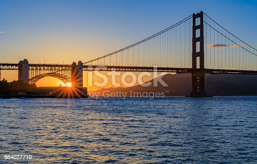 Starburst effect on the sun setting behind the famous Golden Gate Bridge in San Francisco, California