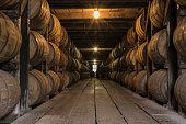 Starburst on Lights in Bourbon Aging Warehouse Corridor